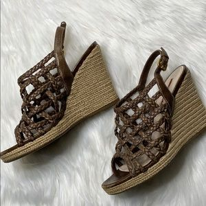 Prada Shoes - Prada Sport Woven Leather Braided Wedge Sandal